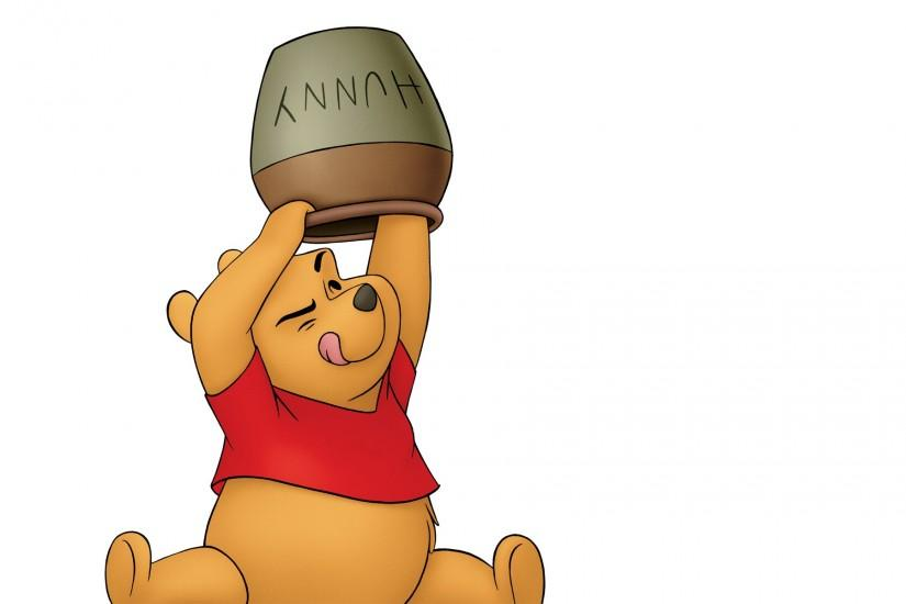 Pooh bear and his hunny/honey pot from Winnie the Pooh wallpaper
