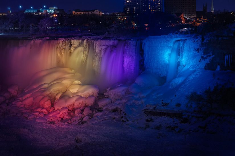 Image for Niagara Falls at night and almost frozen – freeinternetwallpapers