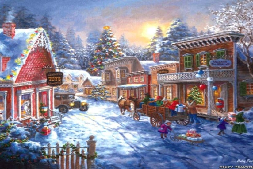 Christmas Village Scene Wallpapers Happy Holidays 1920x1080