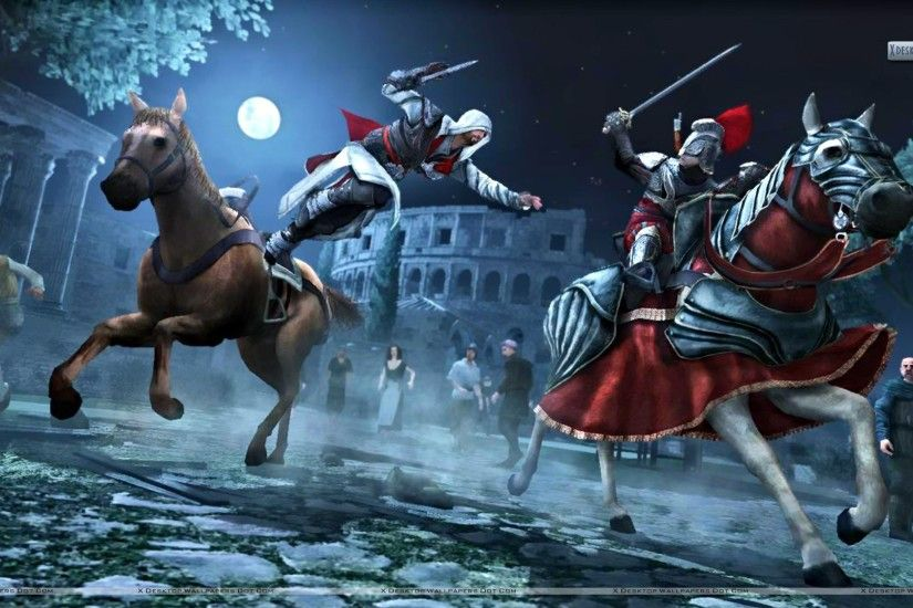"You are viewing wallpaper titled ""Assassins Creed Brotherhood Jumping From  A Hourse"" from the ..."