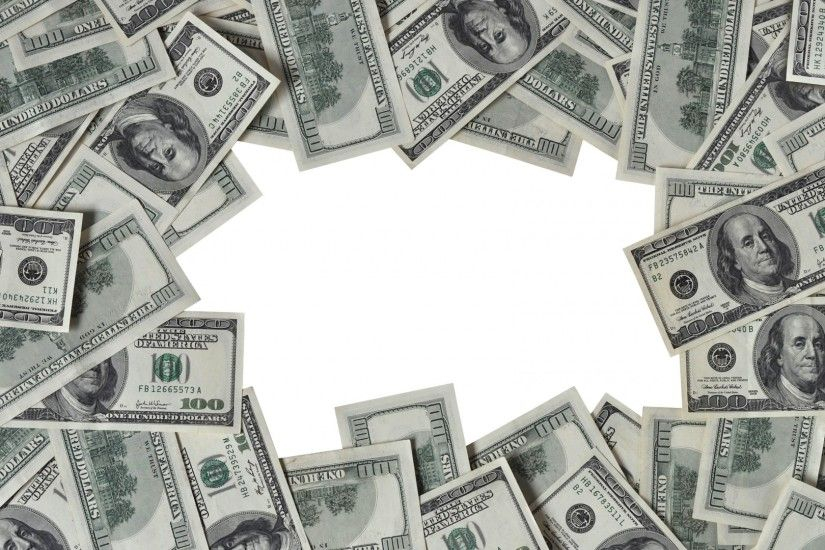 Preview wallpaper dollars, frame, money, white background 1920x1080
