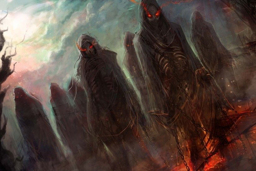 Wallpapers Undead black magic dead red eyes Fantasy Chain 2560x1600