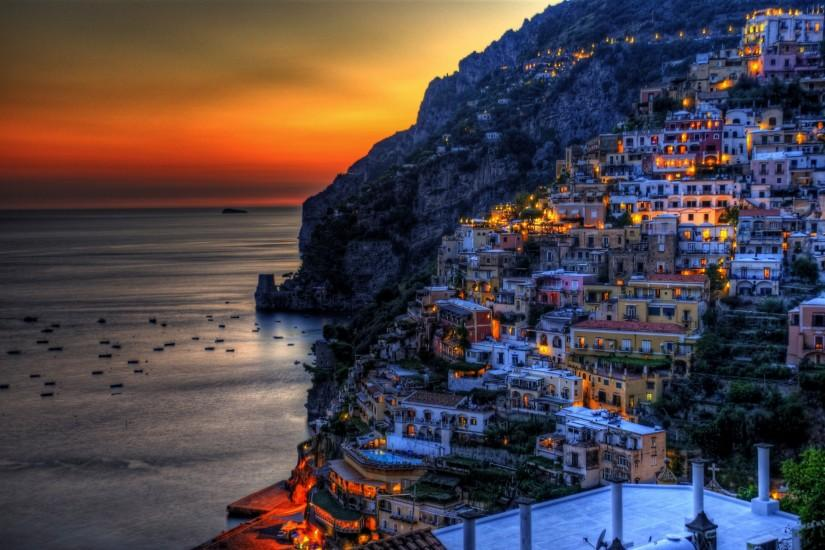 Positano, Italy, sunset, sea, coast, mountains, rocks, evening