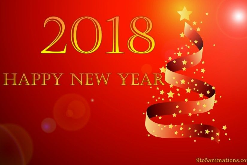 happy new year 2018 red theme wallpapers hd