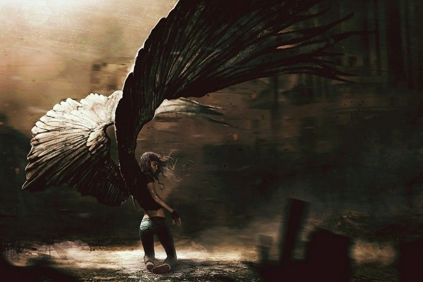Preview wallpaper angel, girl, fallen, wings 1920x1080