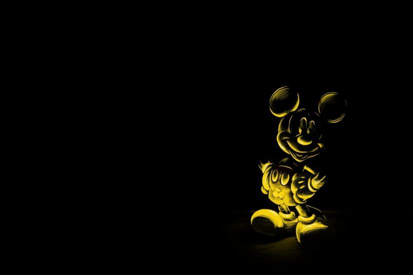 Preview wallpaper cartoon, black background, character, mickey mouse, mouse  2048x1152
