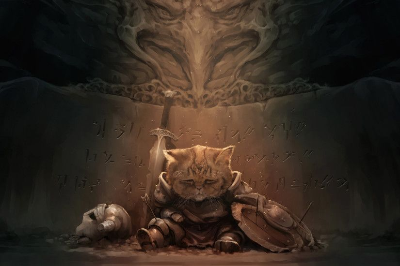 I use a wallpaper changer on my phone set to fan art subreddits. This  amazing Dragonborn cat showed up.