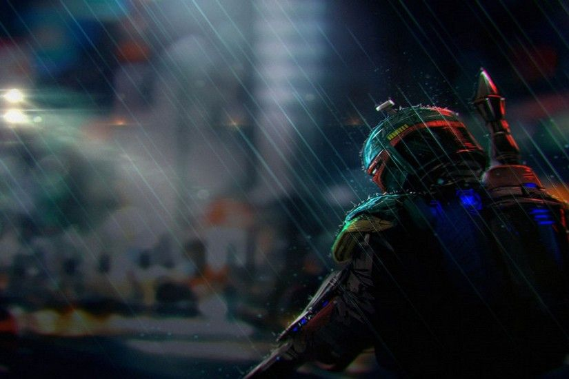 Boba Fett in the rain.