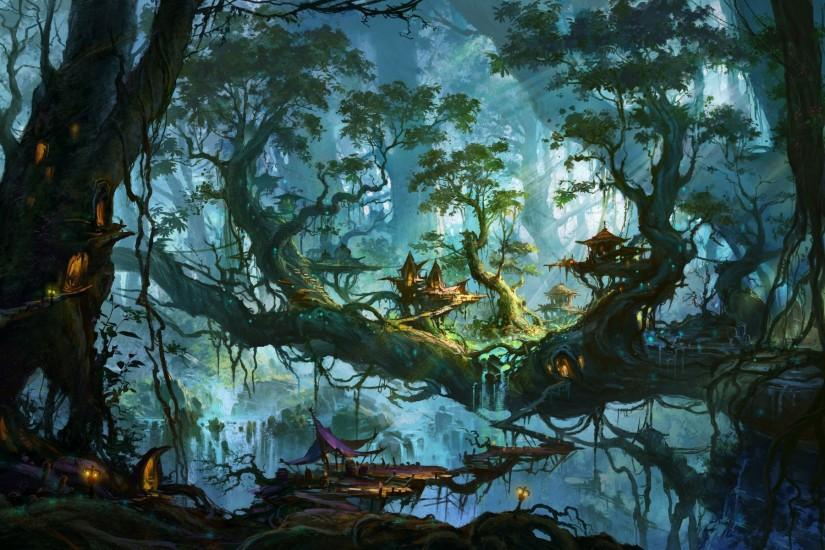 Enchanted village on the forest trees wallpaper - 1024031 Anime Magical Forest  Background