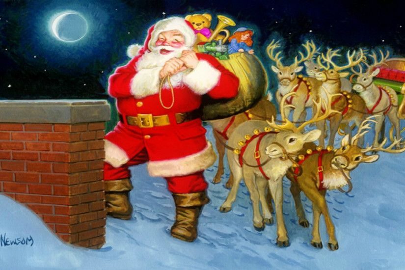 desktop wallpaper christmas for free ; cute-old-fashioned-santa-with-