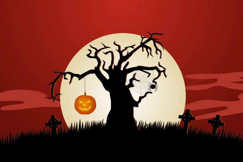 A Creepy Graveyard Halloween Background Scene. Zombie Spooky Fear Pumpkin