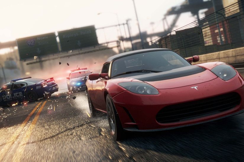 need for speed most wanted 2012 tesla roadster sport widescreen hd wallpaper
