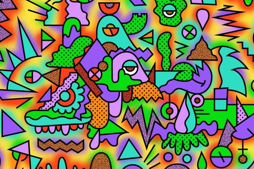 Preview wallpaper figurines, colorful, drawing, acid 1920x1080