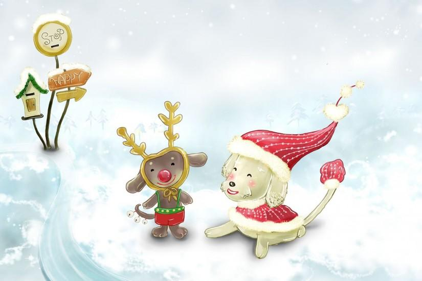 Free Cute Christmas Animals In Snow, computer desktop wallpapers .