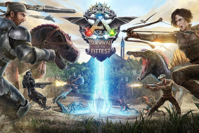 ARK: Survival of the Fittest Logo & Fight 1920x1080 wallpaper
