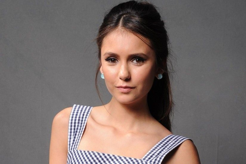 Nina Dobrev with a square pattern on her dress wallpaper 1920x1080 jpg