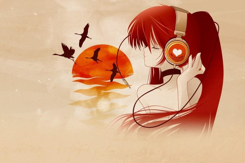 anime music, girl, crying, headphone, cranes, sunset, birds, wallpaper