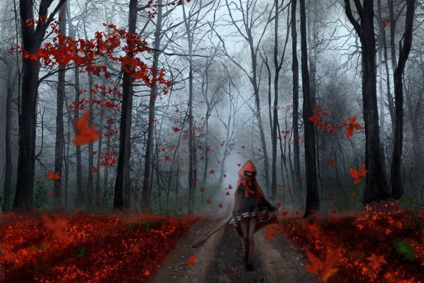 Anime girl forest autumn tree red leaf road wallpaper | 2038x1440 | 607179  | WallpaperUP