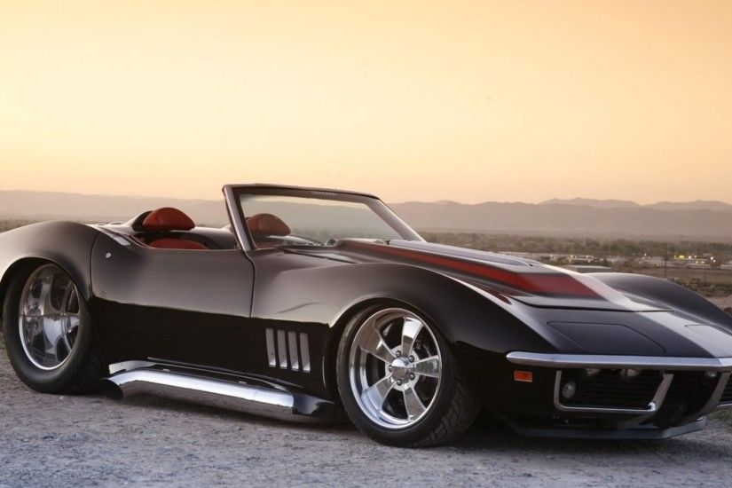 corvette+from+the+1969 | 1969 Black Chevrolet Corvette Roadster wallpaper  background