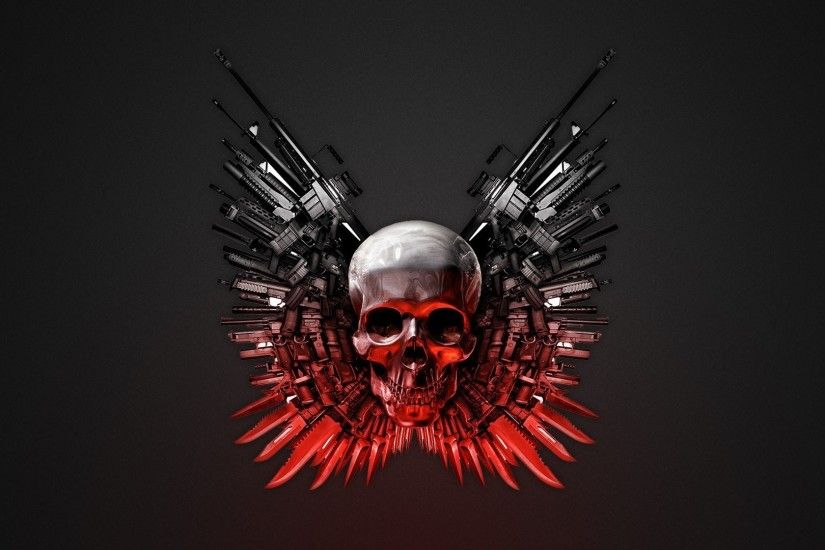 THE EXPENDABLES dark skull skulls weapon weapons wallpaper background