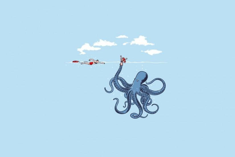 humor, Minimalism, Simple, Blue, Octopus Wallpaper HD