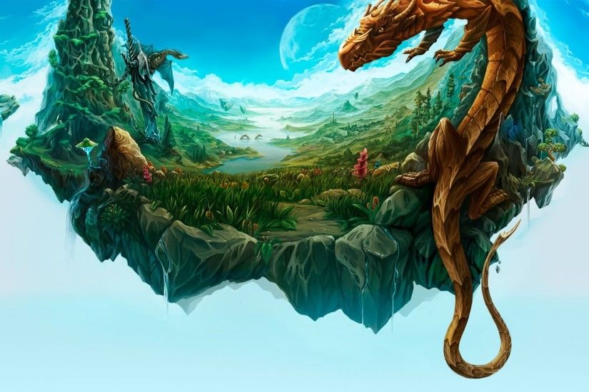 Fantasy - Dragon Floating Landscape Island Wallpaper