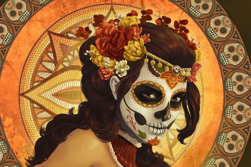 Sugar Skull, Dia De Los Muertos, Digital Art, Artwork, Women, Pattern