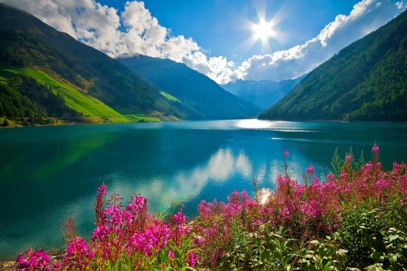 nature, Landscape, Mountain, River, Sun, Clouds, Pink Flowers, Austria