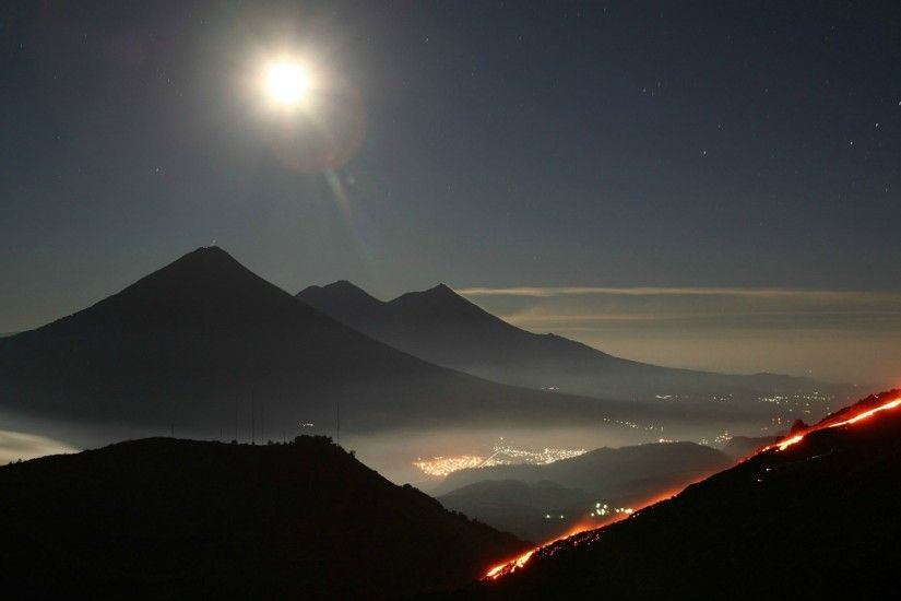 General 1920x1080 nature landscape Guatemala South America night starry  night mountains moon rays Moon hills lights