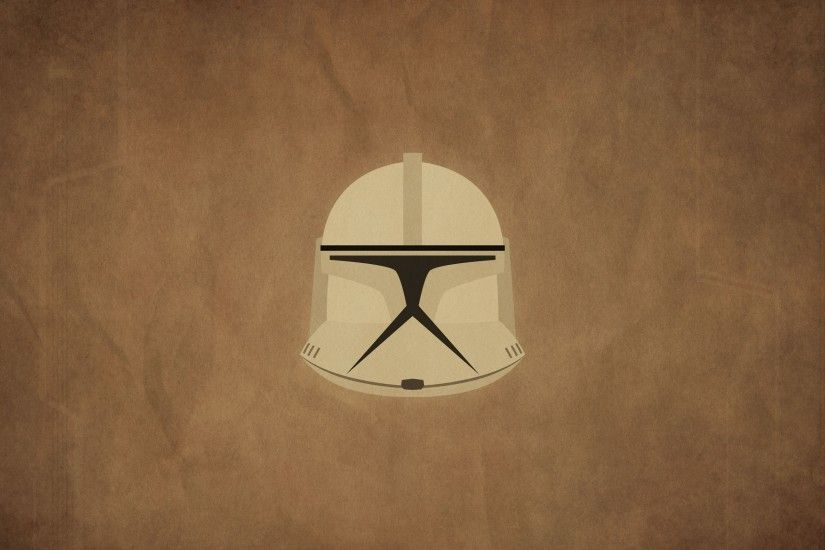 Star Wars, Clone Trooper, Minimalism, Movies, Helmet, Brown Background  Wallpaper HD