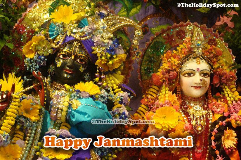 A 1080i picture of decorated Lord Krishna and Radha's idol on the occasion  of Janmashtami.