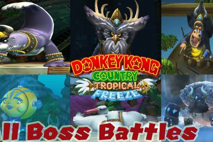 Donkey Kong Country Tropical Freeze - All Boss Battles and Ending [ HD ]