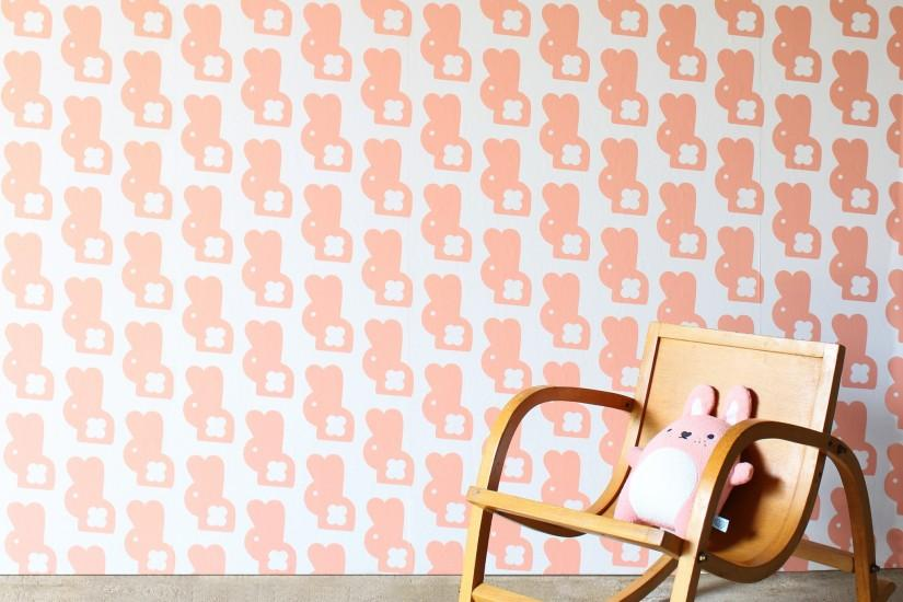 Cute pink bunny wallpaper perfect for creating a modern scandi style  nursery or kids room.