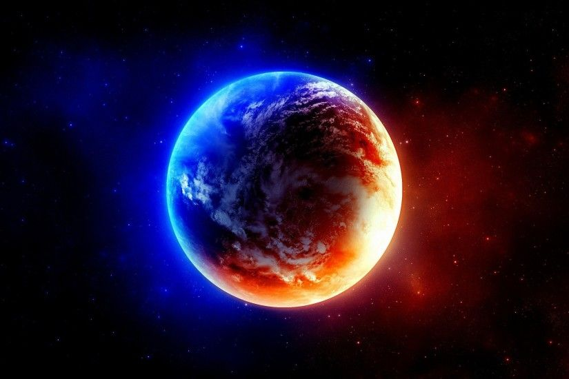 Red And Blue Planet HD Wallpaper