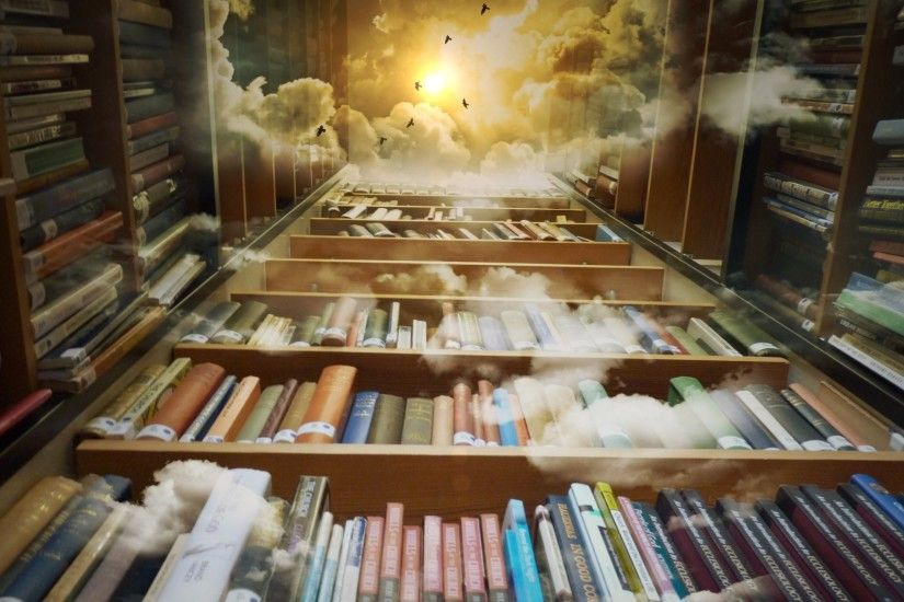 Man Made - Library Fantasy Book Cloud Mystical Magical Wallpaper