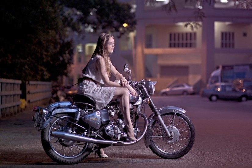 Girl, motorcycle, street, night wallpaper thumb