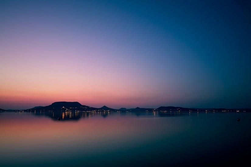 Calm Lake Water Sunset Wallpaper and Stock Photo