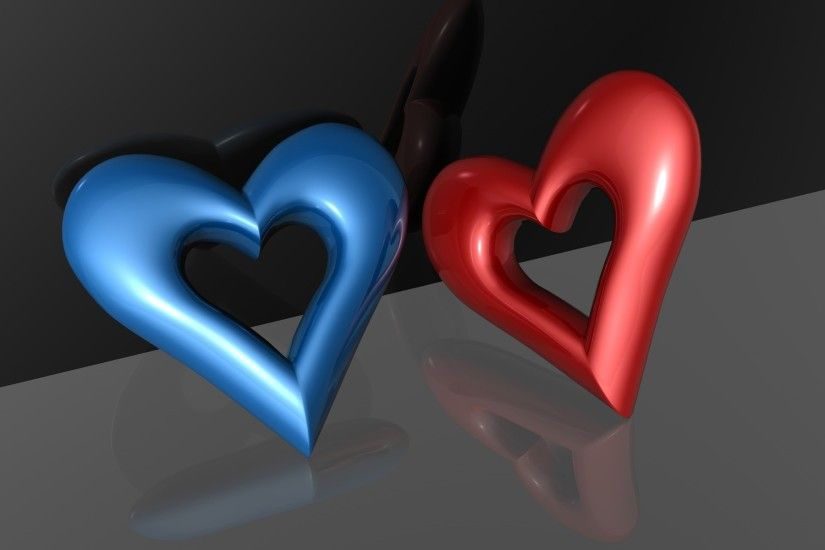 Free Wallpapers - Red and Blue Hearts wallpaper