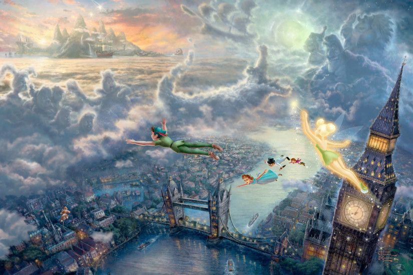 Thomas Kinkade's Disney Paintings - Peter Pan - Walt Disney Characters .