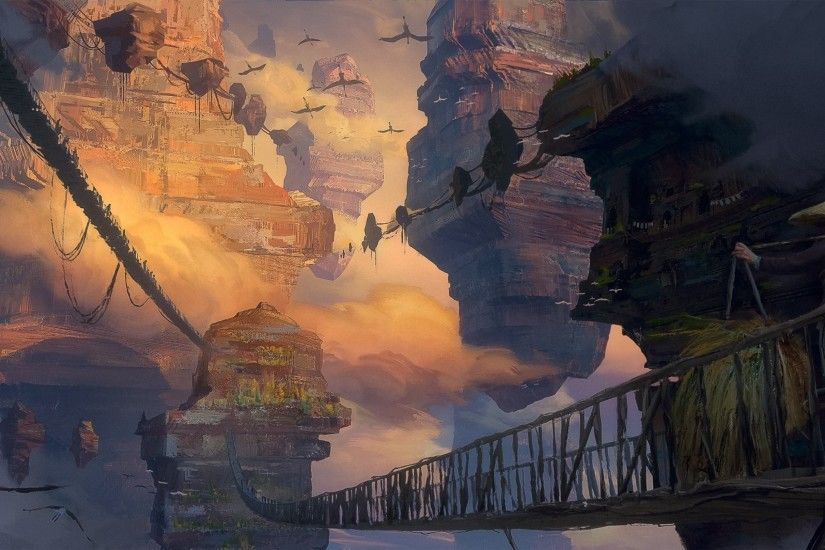Fantasy Landscape, Bridge, Strawhat, Floating Island