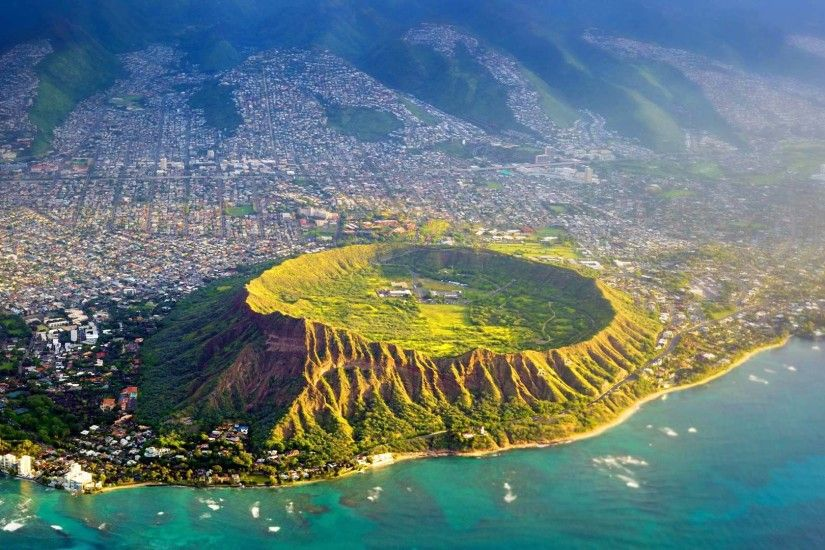 Picture of the day for July 18 2016 at by Bing; Aerial view of Diamond Head  Oahu Hawaii ( Biederbick & Rumpf/Offset)