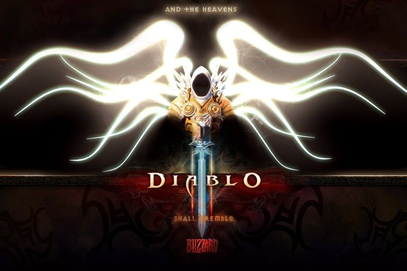Preview wallpaper diablo 3, tyrael, angel, archangel, character, wings, hood