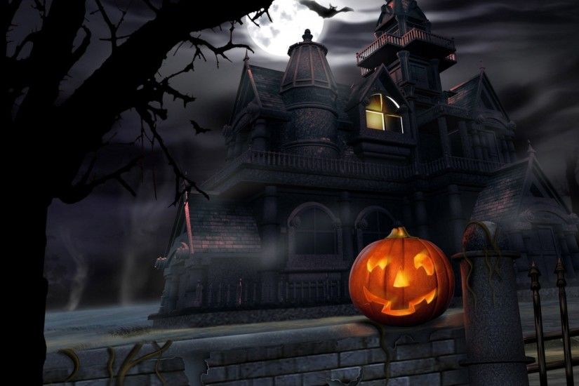 Preview wallpaper halloween, pumpkin, lantern, house, darkness, gloom  2048x1152