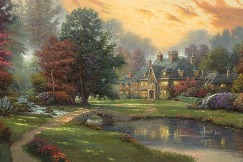 Thomas Kinkade Hd Paintings Art Wallpaper 1920×1080 | Art Wallpaper