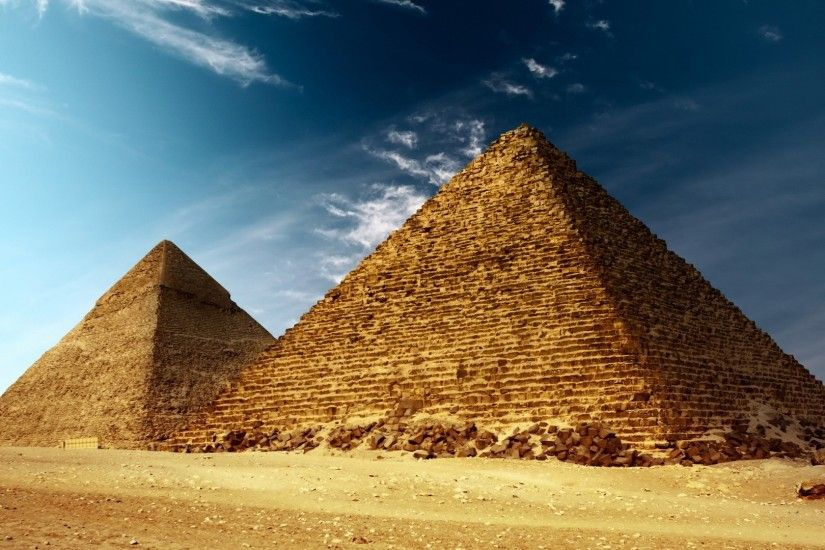 Architecture Deserts Egyptian Giza Pyramids Sand Skyscapes