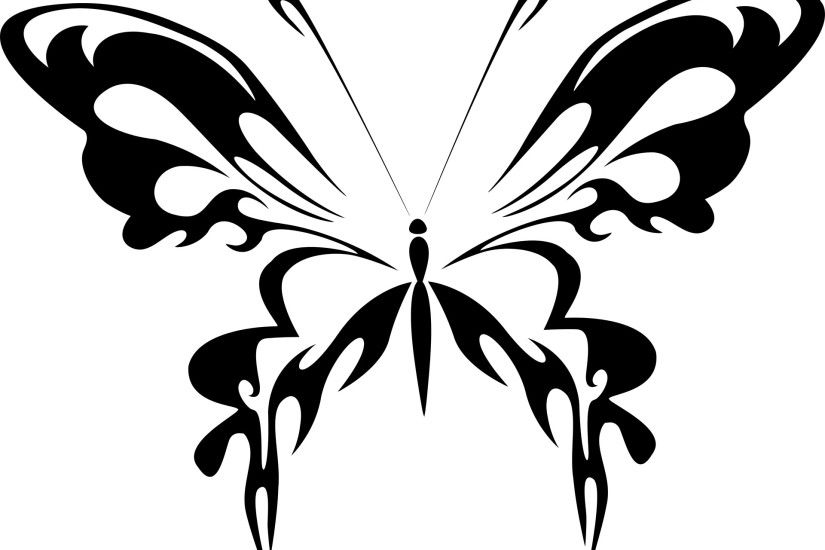 black silhouette of a butterfly on a white background · Free Download