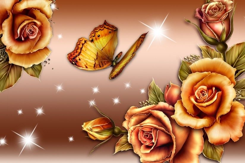 Gradient Tag - Butterfly Gold Shine Glow Roses Bronze Gradient Beautirful  Golden Lovely Nice Flower Hd