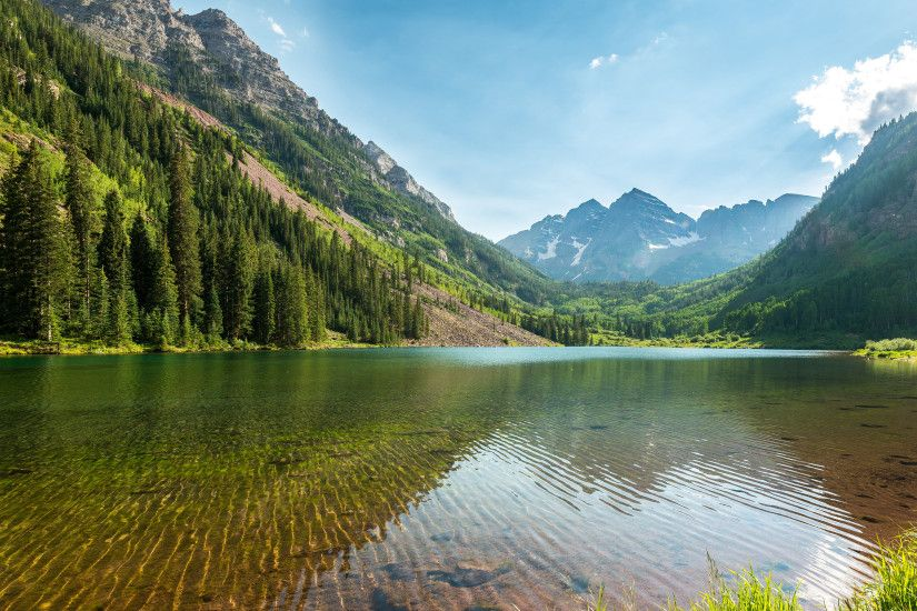 Nature lake and mountains 4K HD wallpaper