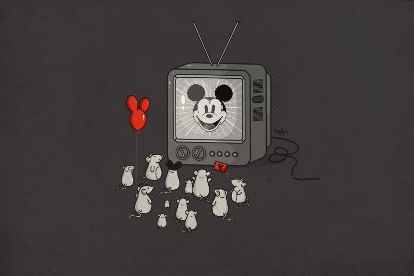 mice, Mickey Mouse, Television Sets, Balloons, Humor Wallpapers HD /  Desktop and Mobile Backgrounds