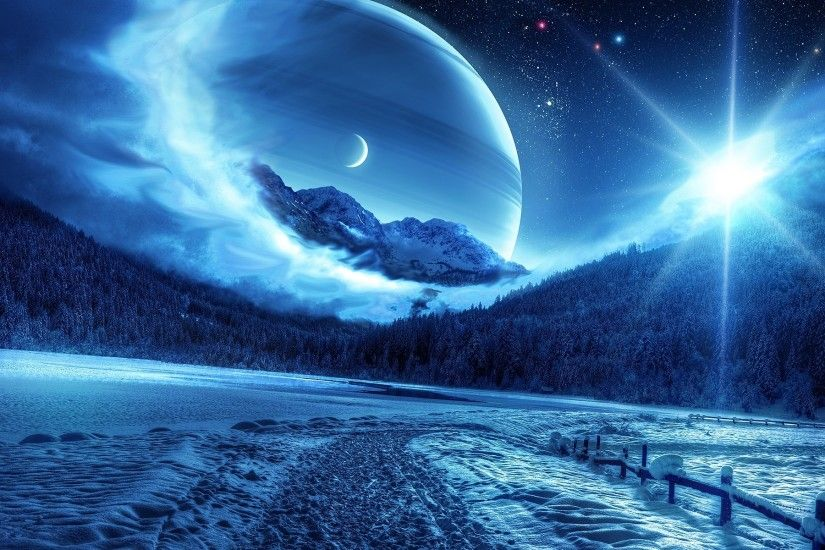 Preview wallpaper winter, night, mountains, road, planet, fantastic  landscape 1920x1200